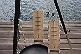 2 Stück 50 cm Flammlachsbrett mit Edelstahl Halter Flammlachs Flammbrett für Feuerschale Lachs Brett Holzbrett