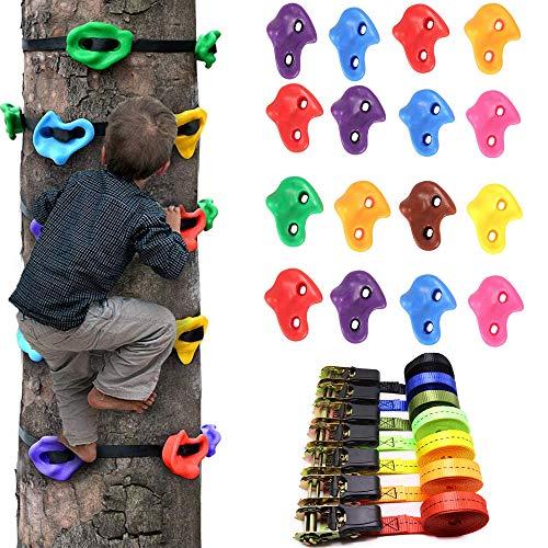 HSJCZMD Klettergriffe für Kinder, 16 Klettergriffe und 6 Spanngurt für Baumklettergerüst, Kinderklettern Felssteine Leicht zu Assembletree Werkzeug Klettern,10m