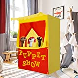 "Alvantor Lemonade Stand Puppet Show Theater Pretend Playhouse Play Tent Kids on Stage Doorway Table Top Sets for Toddlers Curtain Fordable Rods Children Dramatic Furniture, 28""X20""X41""H, Yellow"