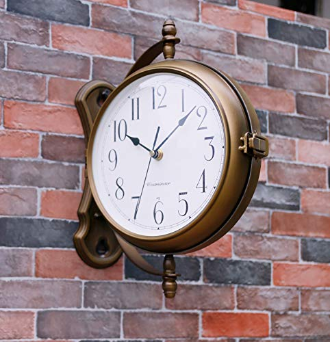 Bestime Antique Bronze Finish 13inch Double Sided Wall Clock Wrought Iron, Metal, Quiet, Easy Read Two Faces Station Clock for Garden Home Décor Indoor Outdoor Living Room Study Wall Decoration.
