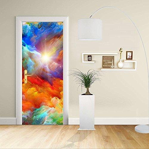 Autocollant de porte - Design- Design abstrait de couleurs vives - Décoration adhésive pour portes meubles maison-Print pour porte dimensions personnalisables-impression sur PVC (CM 60X200)
