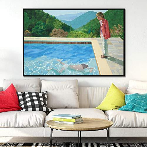 Unbekannt MFMing David Hockney Pool mit Zwei Figuren Leinwand Wohnkultur Wand Poster Drucke Kunst Bild Wohnzimmer Drucke-50X70 cm kein Rahmen