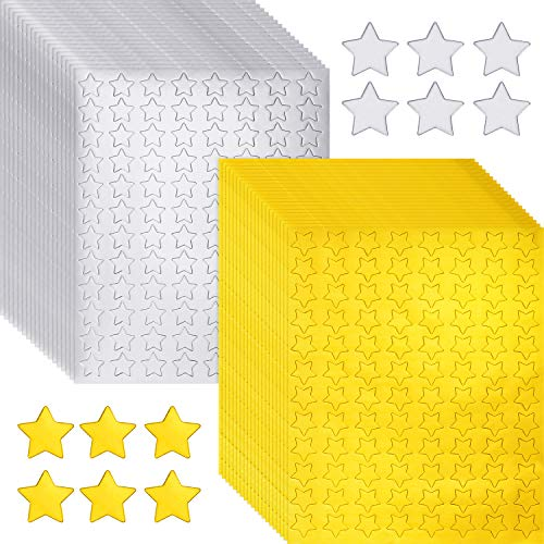 3840 Pieces Metallic Star Stickers Gold Star Foil Labels Silver Star Foil Stickers Self-Adhesive Star Stickers for Decoration Supplies