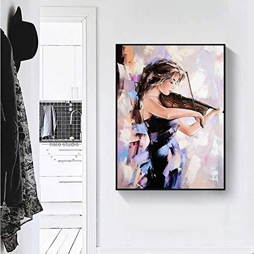 KWzEQ Imprimir en Lienzo Violin Girl Wall Art Imagen Sala de Estar decoración del hogar70x90cmPintura sin Marco