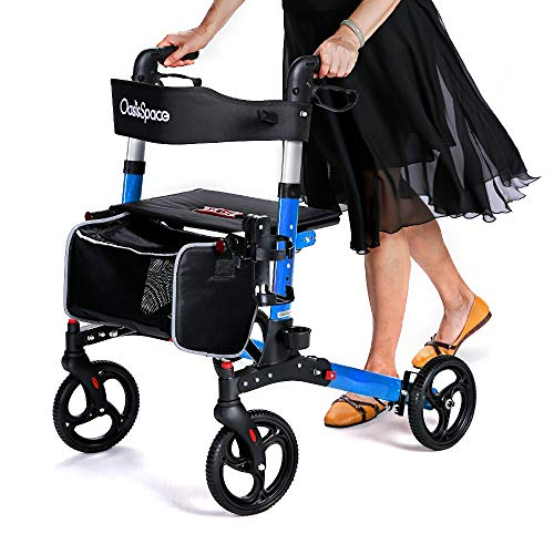 commercial Lightweight and compact foldable Oasis Space walker with 8-inch wheels and wide seats … lightweight rollators under 10 lbs