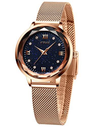 CIVO Relojes Mujeres Oro Rosa Impermeable de Acero Inoxidable Reloj Mujer de Pulsera Marea Vestido Lujo Relojes Analógicos con Esfera Cielo Estrellado para Mujeres Damas Niñas