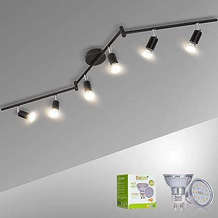 Bojim Plafonnier 6 Spots LED Pivotants & Orientable, Noir Mat, Luminaire Plafonnier LED GU10 6W Blanc Chaud 2800K pour Couloir Salon Salle à Manger Cuisine, 220V-240V IP20, Ampoules LED Incluses