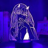 Lámpara de ilusión 3D para niños y niñas, lámpara LED 3D Anime Zero 2 luces nocturnas LED para decoración de habitaciones, barbacoas para niños, manga, regalo de anime, con control remoto