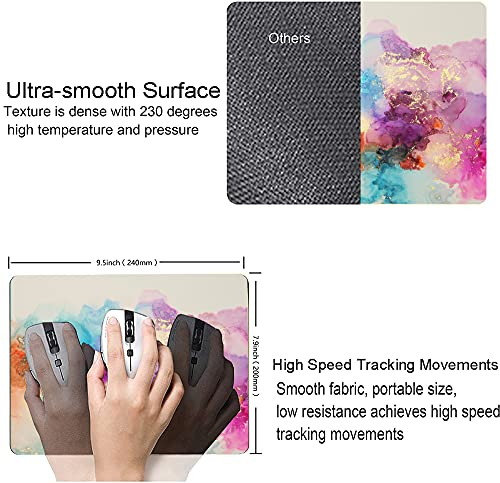 """Watercolor Pink Blue Gold Marble Mouse Pad, Colorful ATR Mouse Mat, Square Waterproof Mouse Pad Non-Slip Rubber Base MousePads for Office Home Laptop Travel, 9.5""""x7.9""""x0.12"""" Inch Photo #3"""