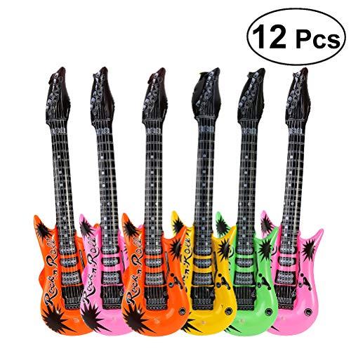 Toyvian Decoración Inflable del Partido del Globo de la Hoja de la Guitarra del Juguete de la Estrella del Rock (Color al Azar) - 12pcs