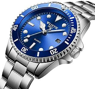 WLISTH stainless steel sports waterproof calendar casual business men's watch Blue case silver watchband
