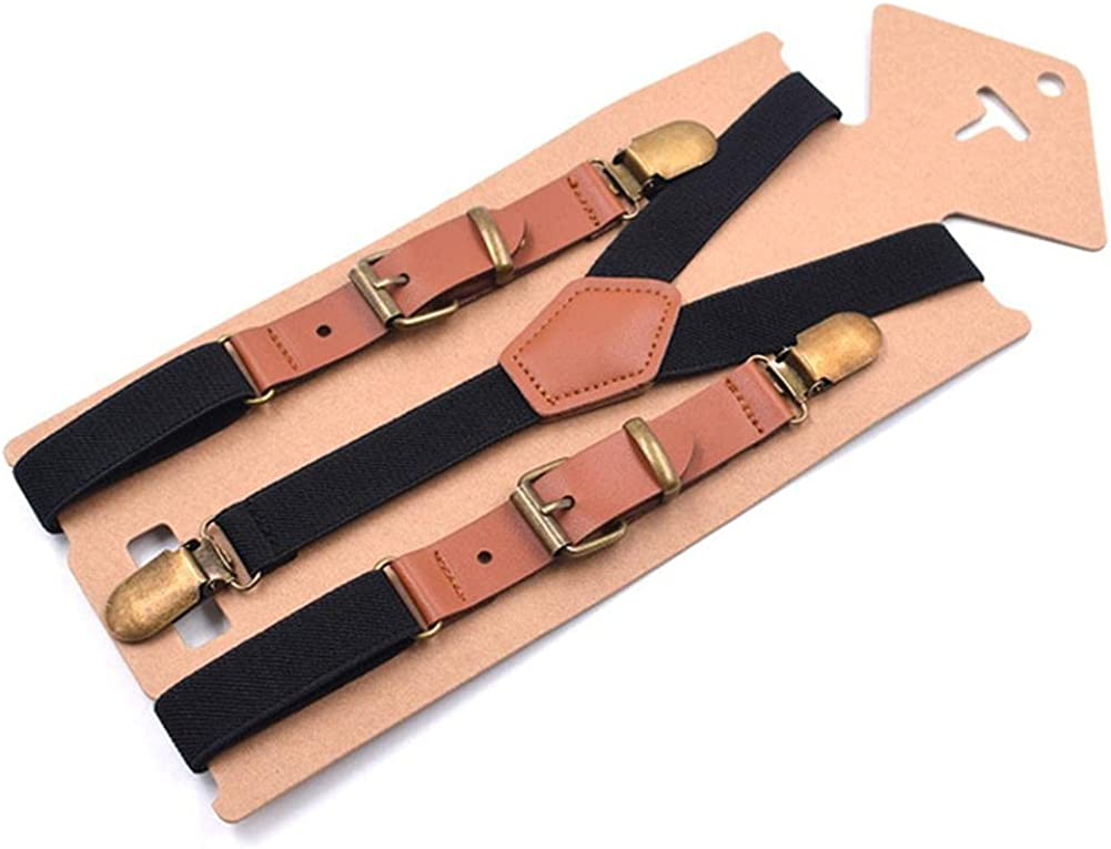 Leather Suspenders Men Women Red Braces For Trousers Y Back Male Female Pants Strap With 3 Clips 115Cm
