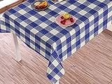 Textil Wachstuch Tischdecke Leinenoptik Textiloptik abwaschbar Gartentischdecke Wachstuchdecke Lotuseffekt Fleckschutz pflegeleicht Meterware Blau Weiß Kariert ST2221-4 (100 x 140 cm Schnittkante)