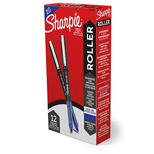Sharpie Rollerball Pen, Needle Point (0.5mm) Precision Pen, Blue Ink, 12 Count