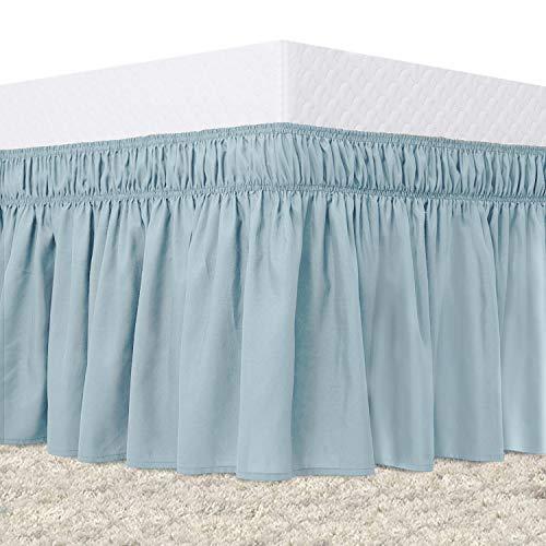 "Guken King Size Bed Skirt Wrap Around Elastic Dust Ruffles Easy On Easy Off Solid Microfiber 15"" Ruffled Bed Skirt for Cal King/King Size Beds Light Blue for Kid's Boy's Room Nursery Decor"