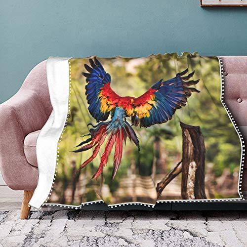 Manta de franela con diseño de alas de guacamayo, con plumas brillantes, estampado digital 3D, para aire acondicionado, colcha, de encaje, para sofá, dormitorio, sala de estar, 40 x 30 pulgadas