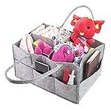 Leslady Panier Rangement Diaper Caddy Bébé Portable Distributeur Couches Organiseurs avec Compartiments Amovibles Range-Couches Nursery