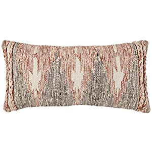 """This multicolor modern throw pillow evokes the notion of fire with its faded red, white, and black pattern. Plaited ropes of all three colors adorn the edges in a textured double-stripe. Wool/cotton Imported 12""""L x 24""""W With the zipper placed on the ..."""
