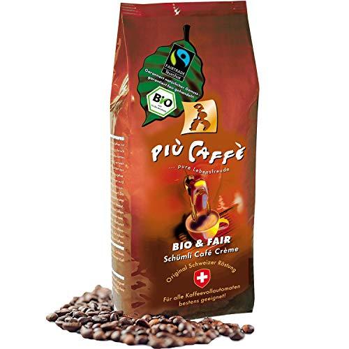più caffè Schümli Bio & Fair Café Crème Kaffeebohnen, 750g; fruchtig-würzig; 100 % Arabica Bohnen, biologischer Anbau, fair gehandelt; Schweizer Trommelröstung, ganze Bohnen für Vollautomaten