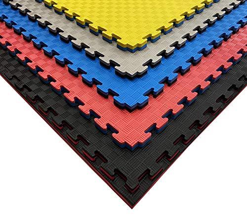 Pack Tatami Puzzle para Artes Marciales,Karate, gimnasios o Deportes de Contacto | Suelo Goma Espuma | Suelo Tatami japonés | 100 x 100 x 2,5 cm | Tatami 5 líneas (10 Unidades (10m2), Negro/Azul)