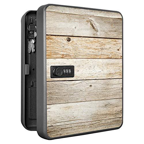 banjado Burg-Wächter abschließbarer Schlüsselkasten mit Motiv Graues Holz | Schlüsselbox mit Zahlenschloss | für 36 Schlüssel | Stahlblech schwarz 30x24x7,4cm groß