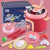 HLONGG Juguetes de Cocina de simulación para niños, Accesorios de Juegos de Cocina, Utensilios de Cocina y vajilla, adecuados para niños, niños y niñas,Rojo