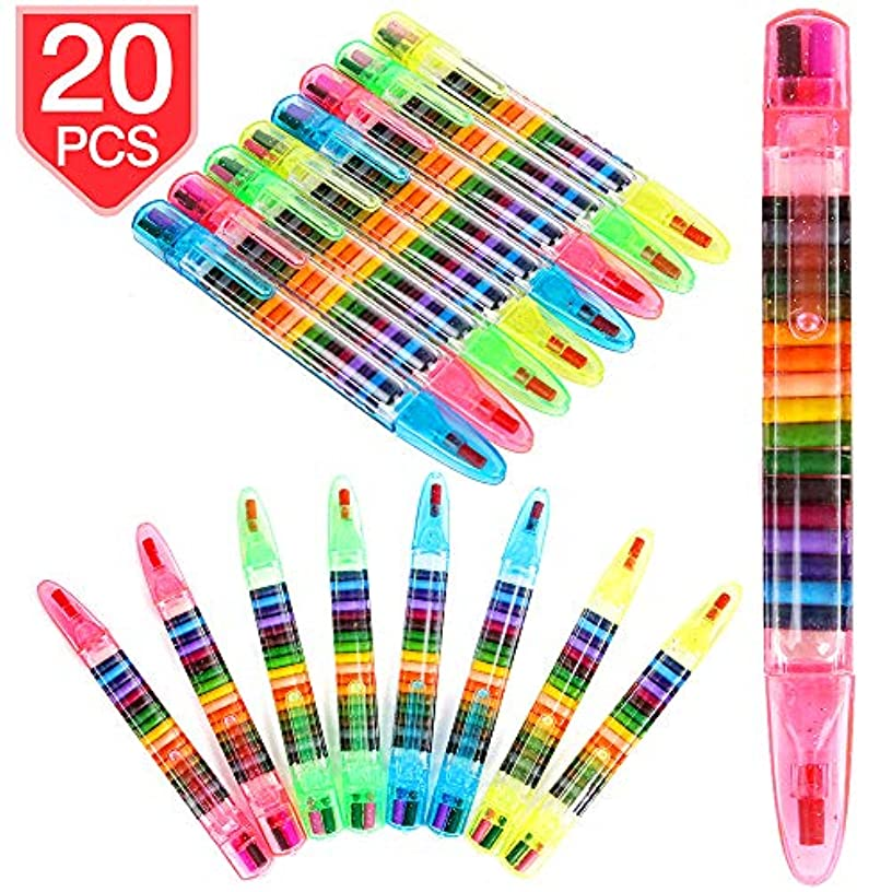 PROLOSO 20 Pcs 20 in 1 Stackable Crayons Colorful Painting Graffiti Pen for Drawing Learning Art Class Supplies 4 Shell Colors