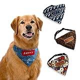 Personalised Dog Bandana Collar - Handmade Custom Dog Birthday Scarf Neckerchief Adjustable Kerchief Bibs - Embroidered Name for Large Medium Small Dogs