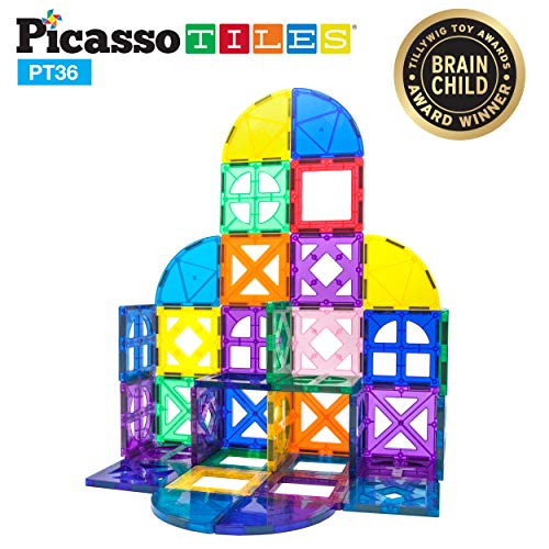 PicassoTiles 36 Piece Magnetic Building Block Quarter Round and Window Set Magnet Construction Toy Educational Kit Engineering STEM Learning Playset Child Brain Development Stacking Blocks Playboards