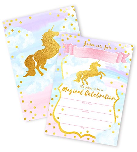 POP parties Magical Unicorn 12 Large Invitations - 12 Invitations + 12 Envelopes - Double Sided