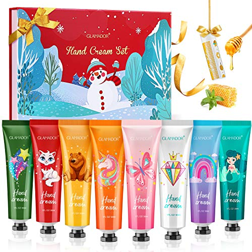Hand Cream Gift Set GLAMADOR 8 Packs Hand Lotion Enriched Shea Butter,Deeply Moisturizing Hand Cream Kit for Dry Skin,Travel Size Hand Lotion Kit with Lip Balm,Christmas Birthday Gifts for All People