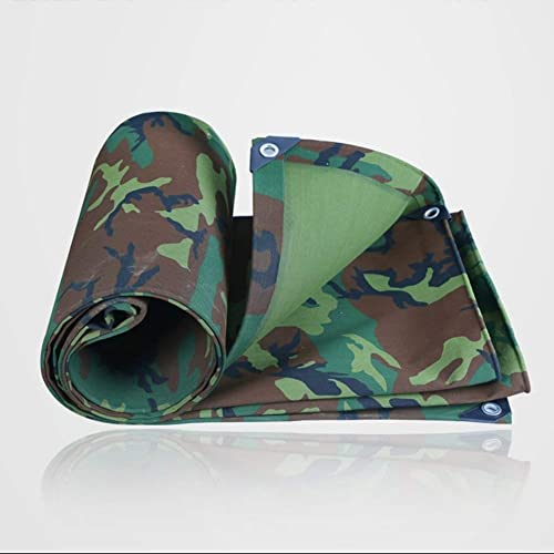 ZXZXI Bache Coupe-Vent Camouflage Double Face Tissu Store Pluie Camping Un Camion Pique-Nique Tente 500g   M2 avec Boutonnière (Couleur   vert, Taille   6x7m)