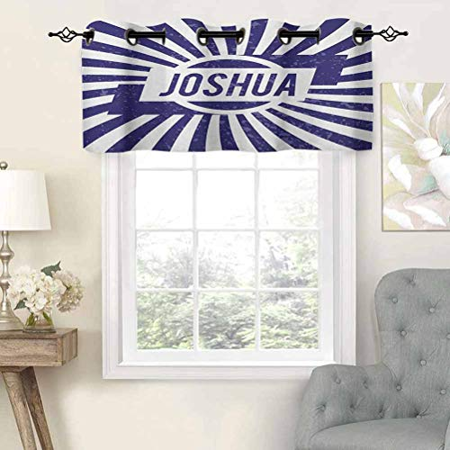 Hiiiman Fashion Design Valance Insulated Thermal Window Panel Popular Name for Men in Dark Blue Color on Radial Backdrop Worn Appearance, Set of 1, 52'x18' for Kids Room