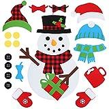 D-FantiX DIY Felt Christmas Snowman Kit, 3.1ft Large Kids Felt Snowman Game Set with 32 PCS...