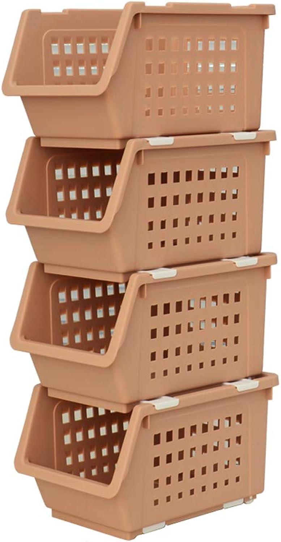 4 Tier Plastic Vegetable Fruit Storage Rack Stacking Stand Basket for Kitchen Bathroom Living Room Storage (color   Khaki)