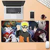拡張ゲーミングマウスパッド、マウスパッド厚手の防水マウスパッドゲーミングワイドバージョン拡張機能滑り止めラバーベース----ブラック│ナルトアニメーションデザイン-A_400*900*3MM