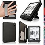 iGadgitz Black PU Leather Folio Case Cover for Amazon Kindle E-Reader 6' 2016 with Hand Strap & Viewing Stand