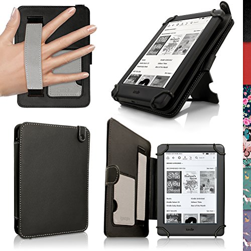 iGadgitz U5497 Nero Folio Custodia PU Pelle Compatibile con Amazon Kindle Schermo Touch da 6' (2016) Case Cover con Supporto & Cinturino