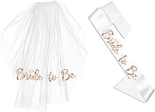 Bubbles & Confetti Bachelorette Sash & Veil   Bride-to-be Wedding Favors   Fiesta Bridal Shower   Rose Gold Veil with Comb   Bridal Party Decoration Set Hen