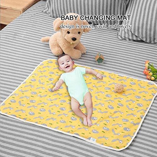 Colchón cambiador para niños, colchón cambiador de algodón impermeable cómodo para cuna para carro de bebé(Yellow fox)