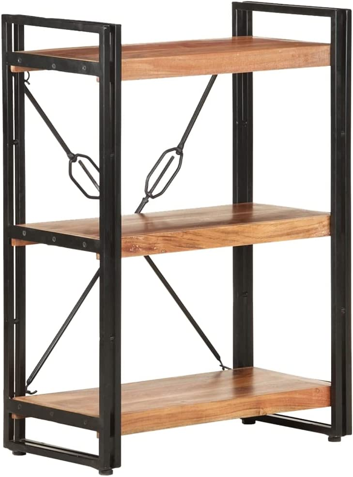 Max 55% OFF 3-Shelf Industrial Bookshelf Discount mail order Open Bookcase with Frame Re Metal