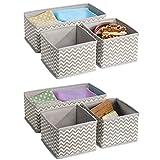 mDesign 6er-Set Stoffbox für Schrank oder Schublade – die ideale Aufbewahrungsbox für Wäsche, Gürtel, Accessoires etc. – flexibel verwendbare Stoffkiste mit Zick-Zack-Muster – beige - 5