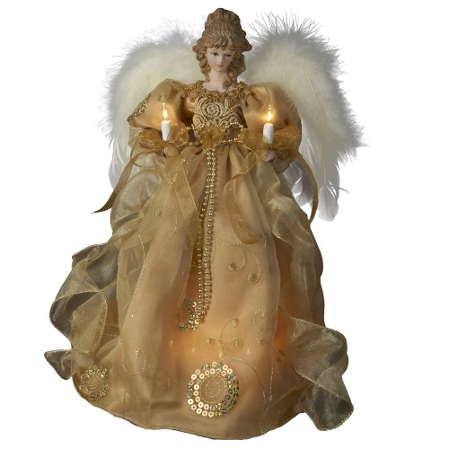 Angel holding Candles Christmas Treetop Figurine