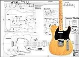 Plan de Fender Telecaster Guitare électrique–Full Échelle d'impression