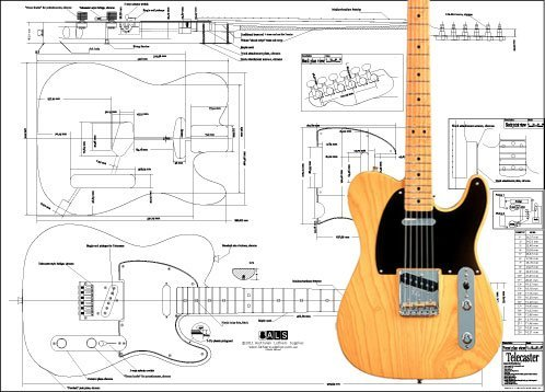 Plan of Fender Telecaster Electric Guitar - Full Scale Print