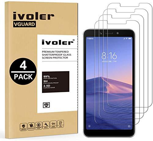 ivoler [4 Unidades] Protector de Pantalla para Xiaomi Redmi 6 / Xiaomi Redmi 6A, Cristal Vidrio Templado Premium