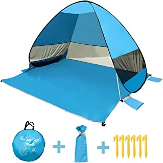 Saleward Pop Up Beach Tent, Portable Instant Sun Shelter Tent with Carry Bag, Sand Pocket, Offer UV 50+ Protection, Wind Proof & Waterproof, Large Space, Suitable for Camping, Hiking, Travelling
