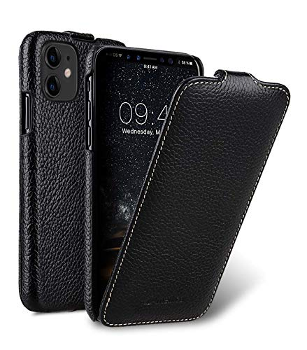 MELCKO Hülle passend für Apple iPhone 11 (6,1 Zoll), Handyhülle mit beschichtetem Leder, Flip-Hülle, Schutzhülle klappbar, dünne Handy-Tasche, Slim Cover, Schwarz