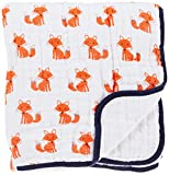 Hudson Baby Unisex Baby Muslin Tranquility Quilt Blanket, Foxes, One Size