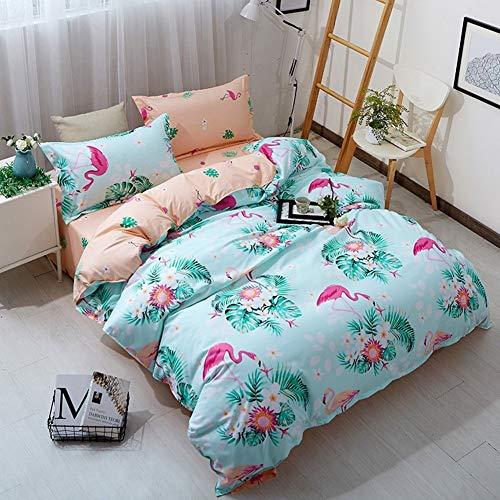 LG Snow Ensemble De Couette Flamingo Ensemble De Literie De 3 Simple Double Taille 220 X 240 Cm Ensemble Doux Polyester Microfibre Zipper Taie d'oreiller Literie Ensemble Housse De Couette Bleu Clair